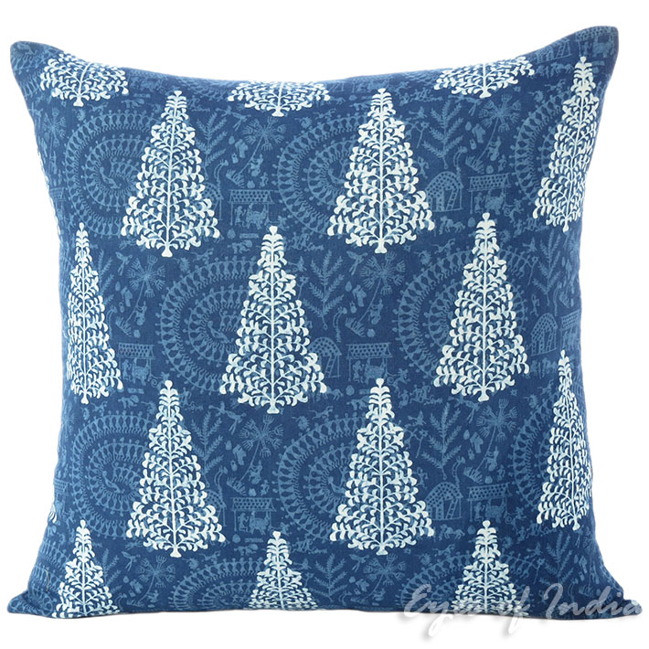 "Indigo Blue Decorative Throw Sofa Boho Cushion Couch Pillow Cover - 16"""