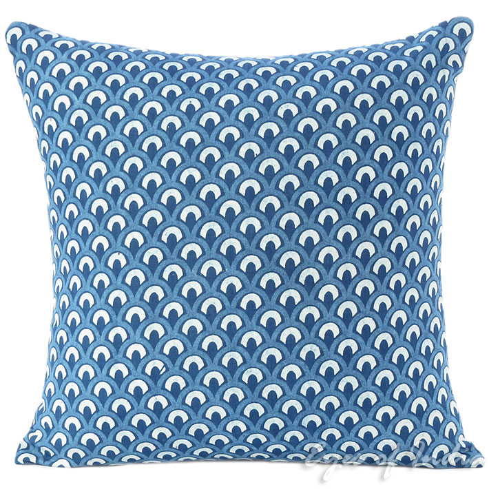 "Indigo Blue Colorful Decorative Sofa Throw Cushion Couch Bohemian Pillow Cover - 16"""
