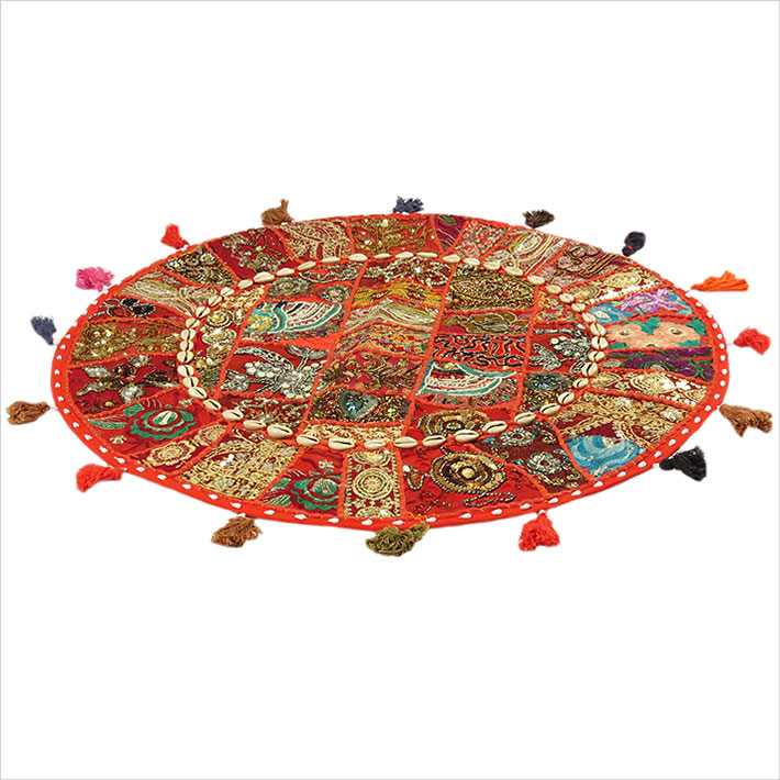 28-034-Red-Patchwork-Floor-Cushion-Seating-Pillow-Throw-Cover-Bohemian-Accent-India thumbnail 7