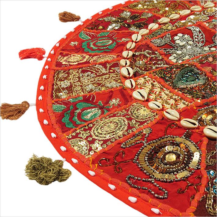 28-034-Red-Patchwork-Floor-Cushion-Seating-Pillow-Throw-Cover-Bohemian-Accent-India thumbnail 8