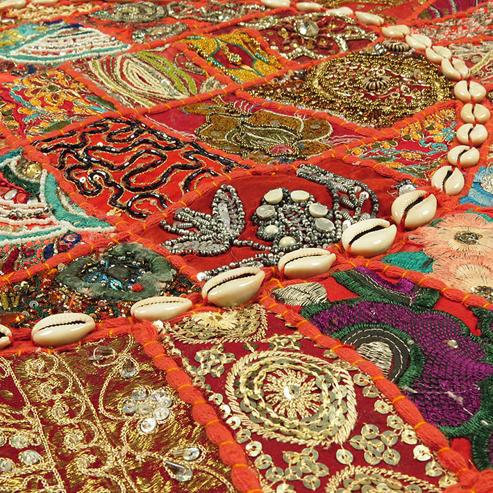 28-034-Red-Patchwork-Floor-Cushion-Seating-Pillow-Throw-Cover-Bohemian-Accent-India thumbnail 9