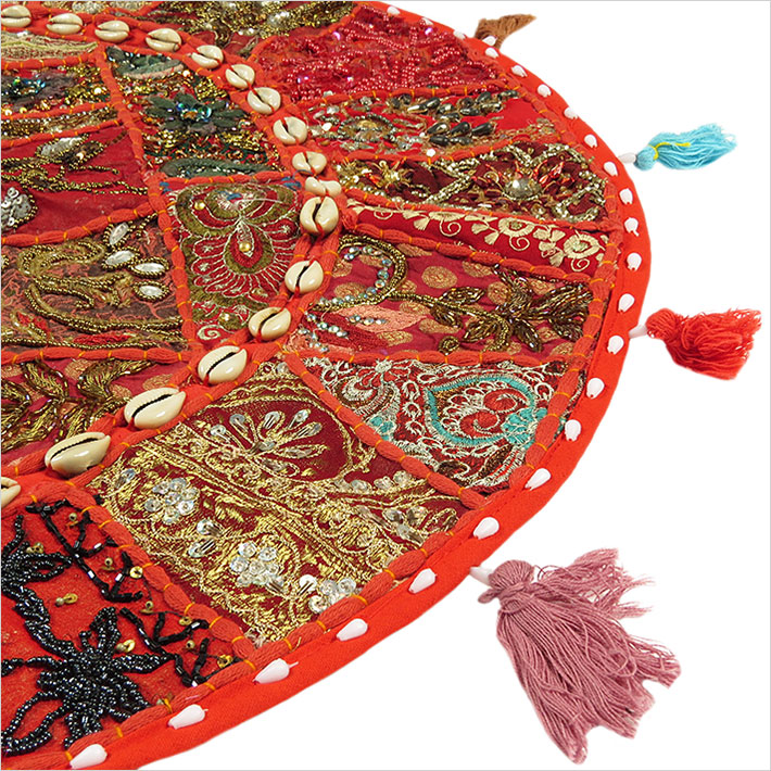 28-034-Red-Patchwork-Floor-Cushion-Seating-Pillow-Throw-Cover-Bohemian-Accent-India thumbnail 15