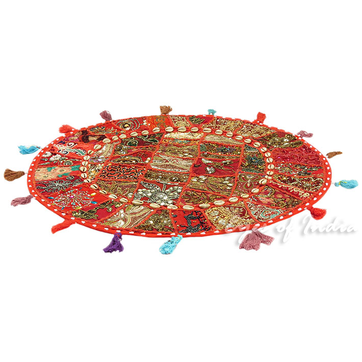 28-034-Red-Patchwork-Floor-Cushion-Seating-Pillow-Throw-Cover-Bohemian-Accent-India thumbnail 16