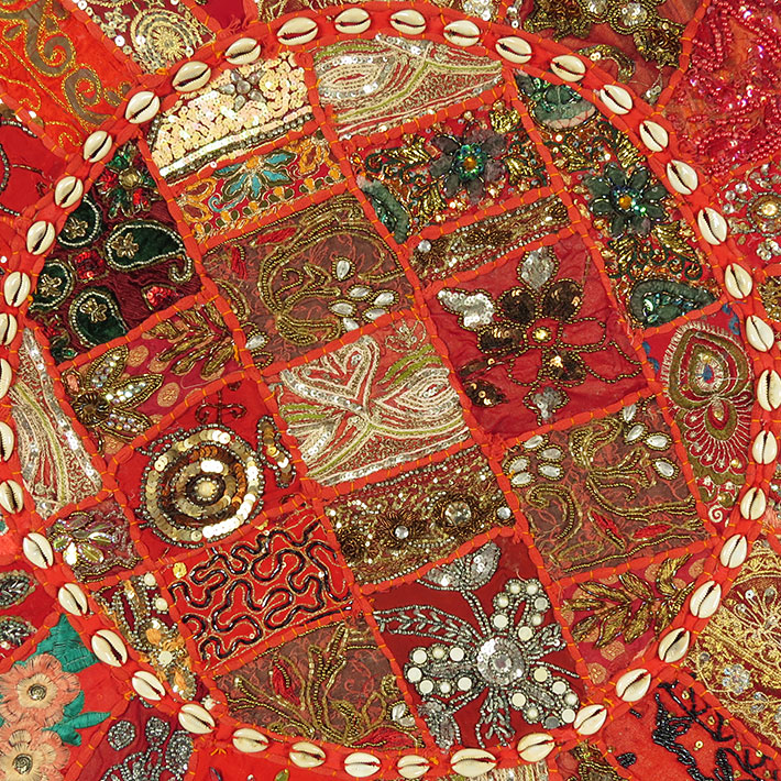 28-034-Red-Patchwork-Floor-Cushion-Seating-Pillow-Throw-Cover-Bohemian-Accent-India thumbnail 17