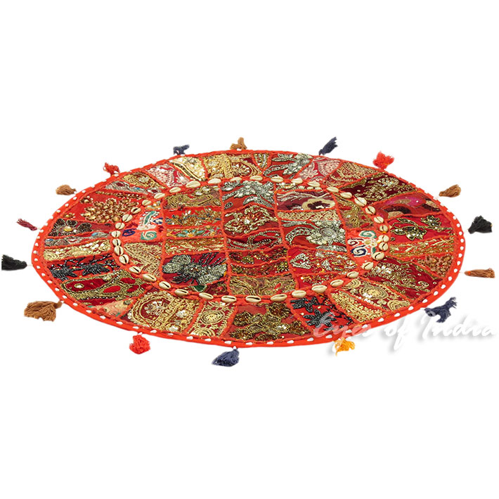28-034-Red-Patchwork-Floor-Cushion-Seating-Pillow-Throw-Cover-Bohemian-Accent-India thumbnail 47