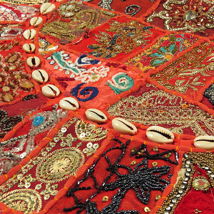 28-034-Red-Patchwork-Floor-Cushion-Seating-Pillow-Throw-Cover-Bohemian-Accent-India thumbnail 49