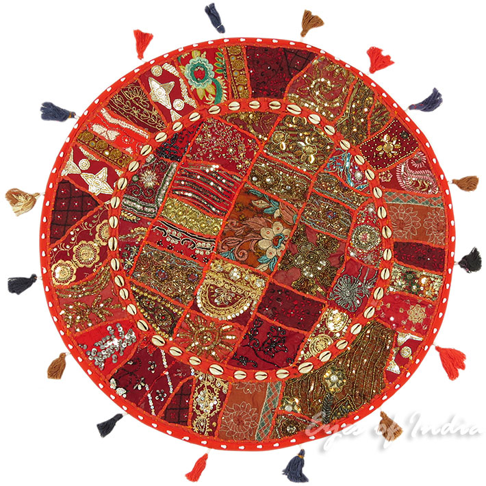 28-034-Red-Patchwork-Floor-Cushion-Seating-Pillow-Throw-Cover-Bohemian-Accent-India thumbnail 51