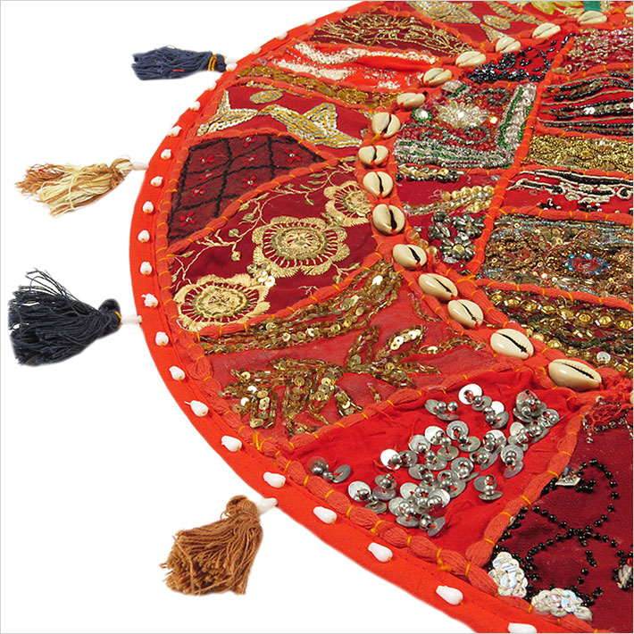 28-034-Red-Patchwork-Floor-Cushion-Seating-Pillow-Throw-Cover-Bohemian-Accent-India thumbnail 52