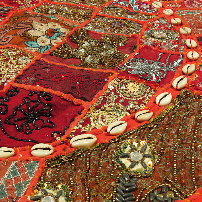 28-034-Red-Patchwork-Floor-Cushion-Seating-Pillow-Throw-Cover-Bohemian-Accent-India thumbnail 53