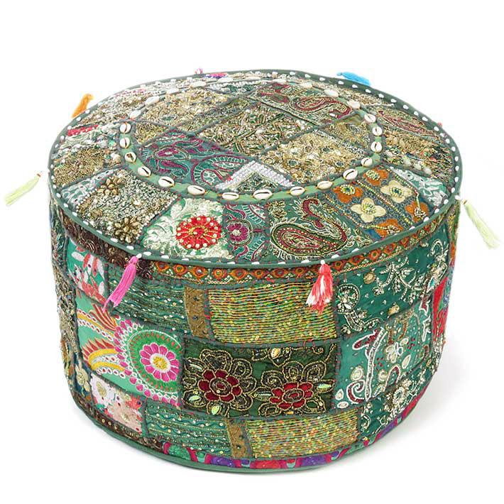 """Green Patchwork Round Boho Ottoman Bohemian Colorful Pouf - 22 X 12"""""""