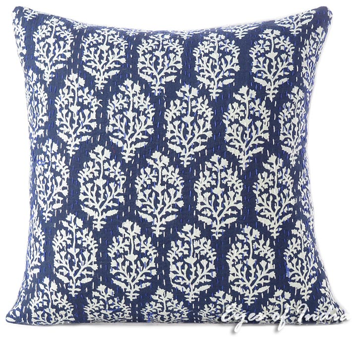 Indigo Blue Bohemian Printed Kantha Boho Couch Pillow Cover Cushion Throw - 16, 24""