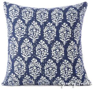 Indigo Blue Bohemian Printed Kantha Boho Couch Pillow Cover Cushion Sofa Colorful Throw - 16, 24""