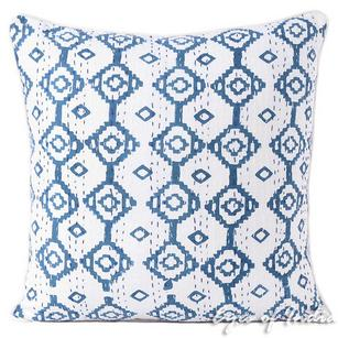Blue Printed Kantha Throw Boho BohemianCouch Sofa Pillow Cover Cushion - 16, 24""