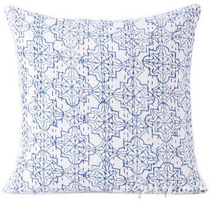 Blue Printed Kantha Colorful Throw Bohemian Boho Couch Sofa Pillow Cushion Cover - 16, 24""