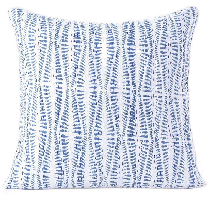 "Indigo Blue Printed Kantha Couch Boho Pillow Bohemian Cushion Cover Sofa Colorful Throw - 16, 24"""