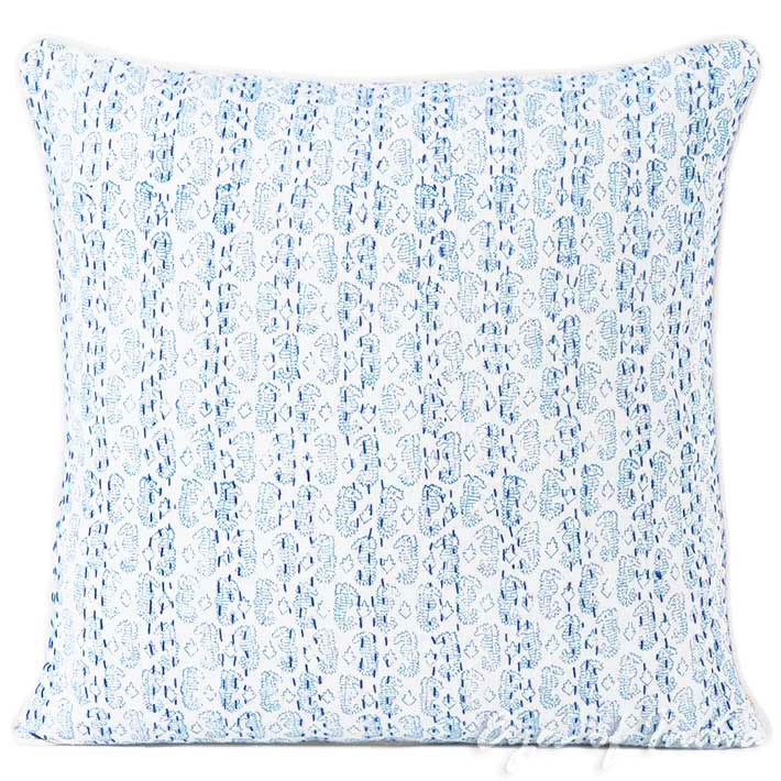 Blue Printed Kantha Colorful Throw Couch Sofa Boho Pillow Bohemian Cushion Cover - 16, 24""