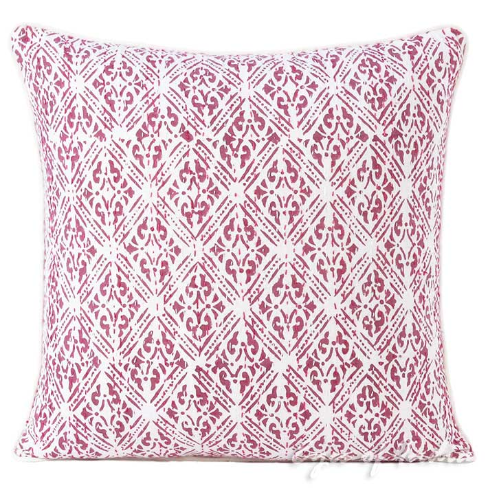 "Pink Printed Kantha Throw Couch Sofa Boho Pillow Bohemian Cushion Cover - 16, 24"""