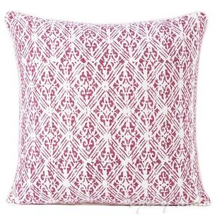 Pink Printed Kantha Throw Couch Sofa Boho Pillow Bohemian Cushion Cover - 16, 24""