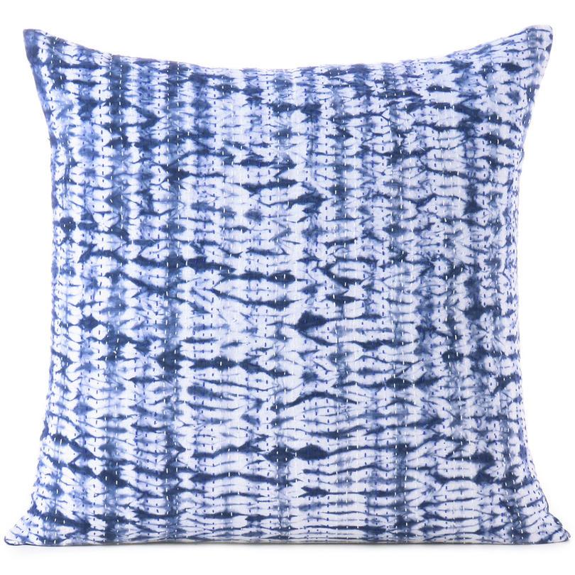 "Indigo Blue Quilted Shibori Colorful Decorative Boho Couch Pillow Cover Cushion Throw Sofa - 16, 24"""
