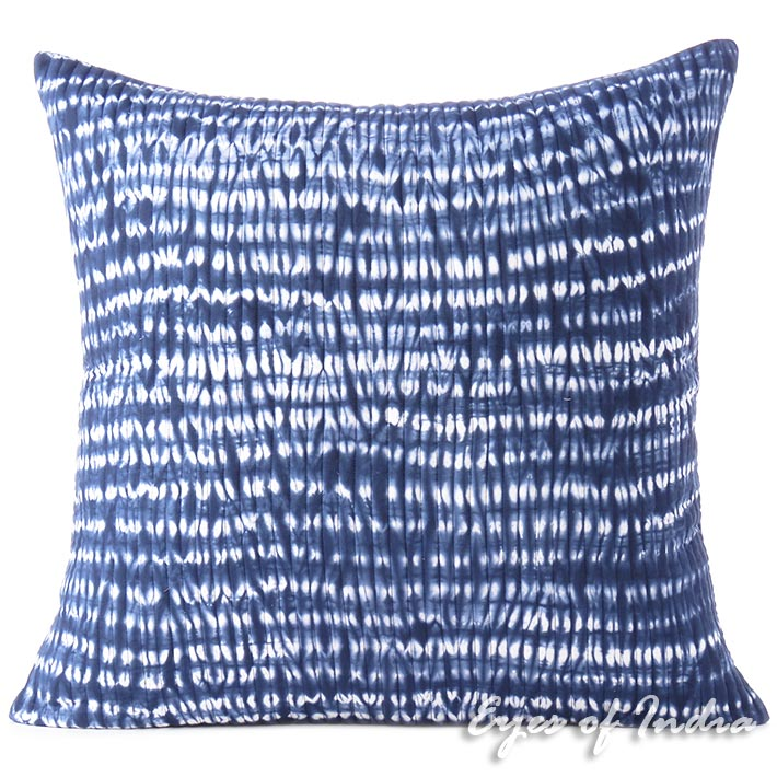 Indigo Blue Quilted Shibori Colorful Decorative Boho Couch Pillow Cover Cushion Throw Sofa - 16, 24""
