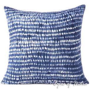 Indigo Blue Quilted Shibori Decorative Boho Pillow Cover Bohemian Cushion Throw Sofa - 16, 24""