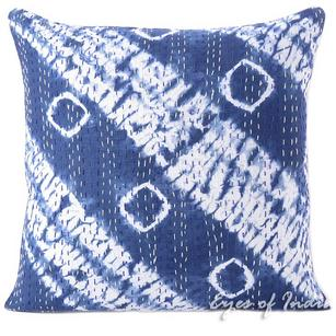 Blue Indigo Kantha Printed Shibori Throw Couch Sofa Boho Pillow Cover Bohemian Cushion - 16, 24""