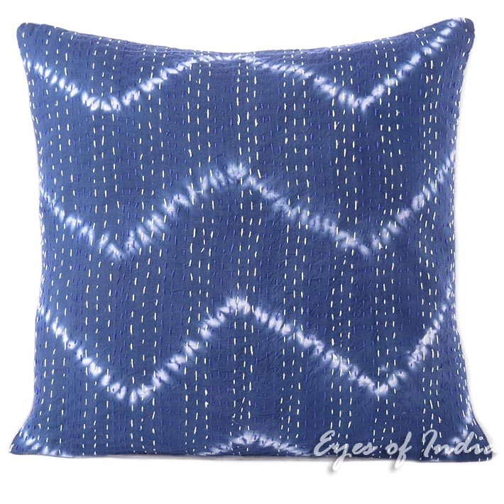 Blue Indigo Printed Kantha Colorful Throw Couch Sofa Boho Pillow Bohemian Cushion Cover - 16, 24""