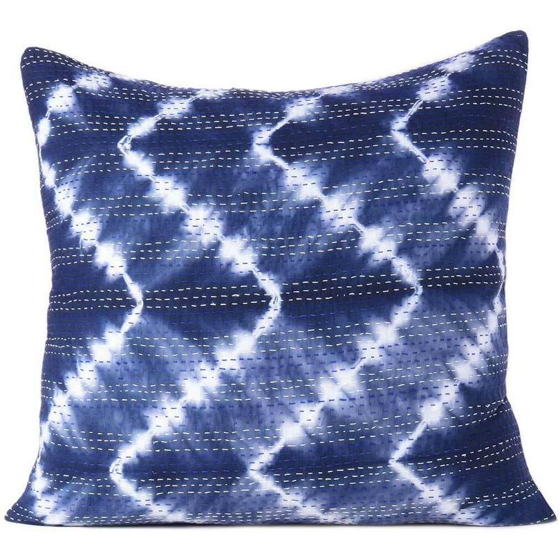 "Blue Indigo Printed Kantha Colorful Throw Couch Sofa Boho Pillow Bohemian Cushion Cover - 16, 24"""