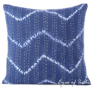Blue Indigo Printed Kantha Throw Couch Sofa Boho Pillow Bohemian Cushion Cover - 16, 24""