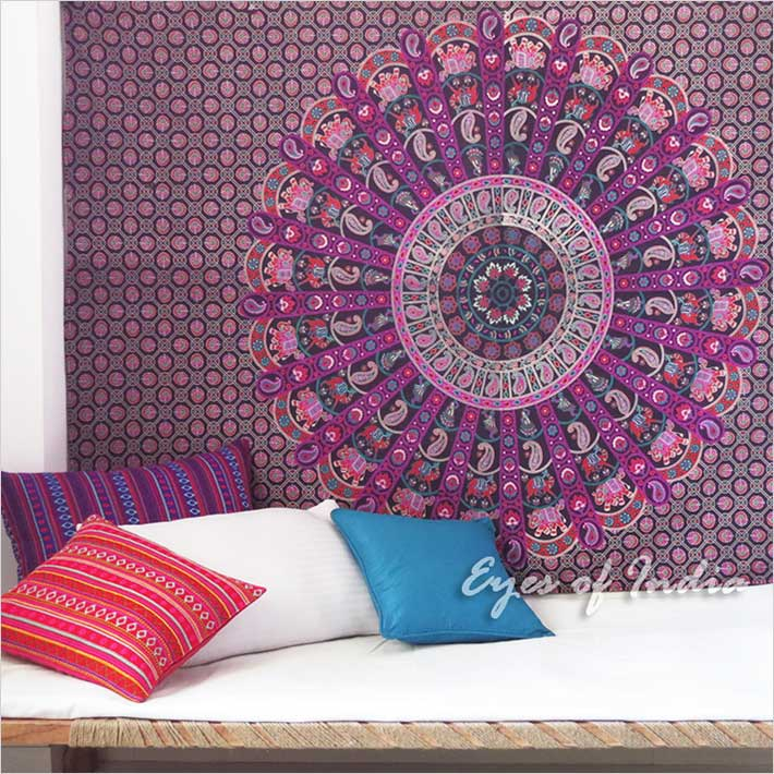 Purple Bohemian Elephant Boho Mandala Tapestry Wall Hanging - Small and Large