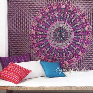 Purple Bohemian Elephant Boho Mandala Tapestry Wall Hanging - Single, Double