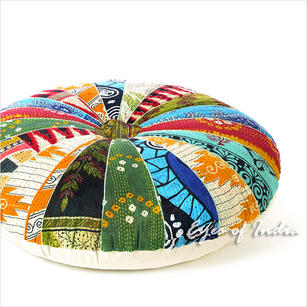 Colorful Decorative Kantha Round Floor Pillow Boho Meditation Cushion Seating Bohemian Throw Cover - 32""