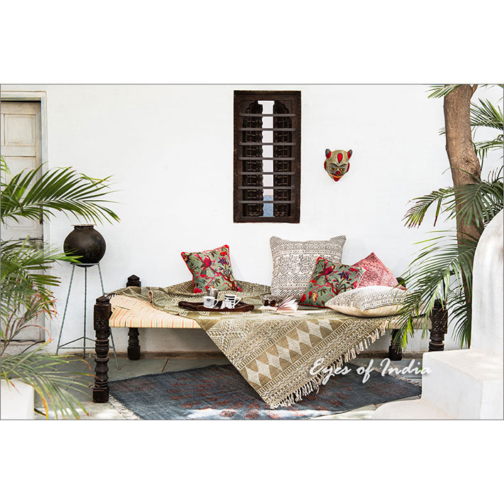 White Black Boho Colorful Decorative Block Print Sofa Cushion Floor Couch Pillow Throw Cover 20 24