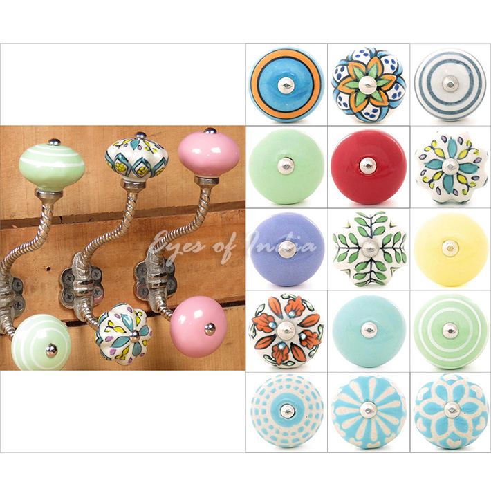 Ceramic Knob Bohemian Wall Hooks Coat Key Shabby Chic Decorative Hat Hangers