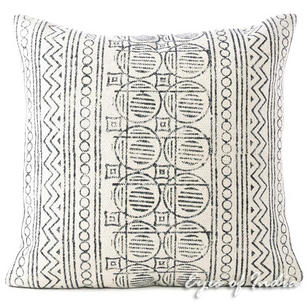 White Black Boho Decorative Block Print Sofa Cushion Floor Pillow Throw Cover - 20, 24""
