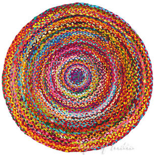 Round Colorful Woven Chindi Braided Area Decorative Boho Bohemian Rug - 4 to 5 ft