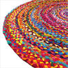 Round Colorful Woven Chindi Braided Area Decorative Boho Bohemian Rug - 4 to 5 ft 3