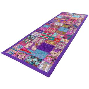 Purple Patchwork Tapestry Wall Hanging Bohemian Boho Decorative - 20 X 60""