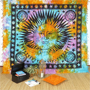 Large Queen Colorful Tie Dye Hippie Mandala Sun Moon Tapestry Hanging Picnic Bohemian Accent Boho Chic Indian Handmade