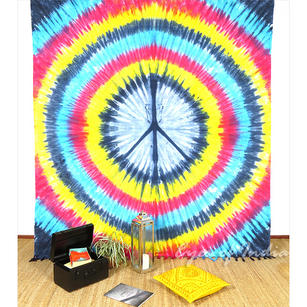 Peace Sign Hippie Tie Dye Tapestry Wall Hanging Bedspread with Fringes - Queen/Double