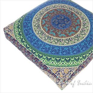 Blue Colorful Large Floor Pillow Cover Pouf Meditation Cushion Seating Square Hippie Chic dog bed Bohemian Accent - 35""