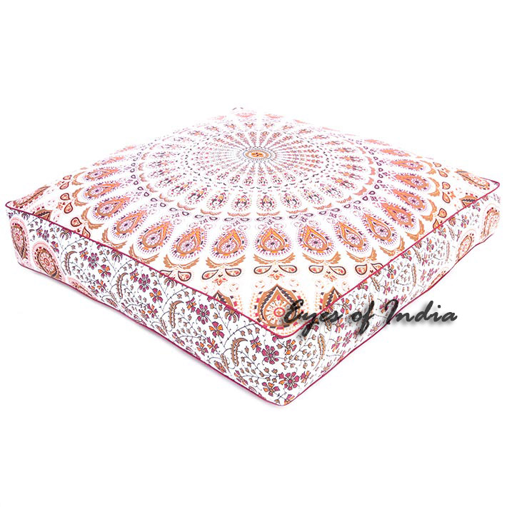 Oversized Large Mandala Square Colorful Floor Pillow Pouf Dog Bed Meditation Cushion Seating Cover - 35""