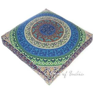 Oversized Large Bohemian Mandala Square Floor Meditation Pillow Cushion Pouf Dog Bed Cover - 35""