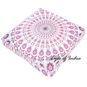 Oversized Large Mandala Square Floor Pillow Pouf Dog Bed Meditation Cushion Seating Cover - 35""