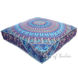 Mandala Oversized Large Square Floor Pillow Pouf Dog Bed Seating Boho Meditation Cushion Cover - 35""
