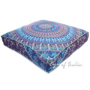 """Mandala Oversized Large Square Floor Pillow Pouf Dog Bed Seating Boho Meditation Cushion Cover - 35"""""""