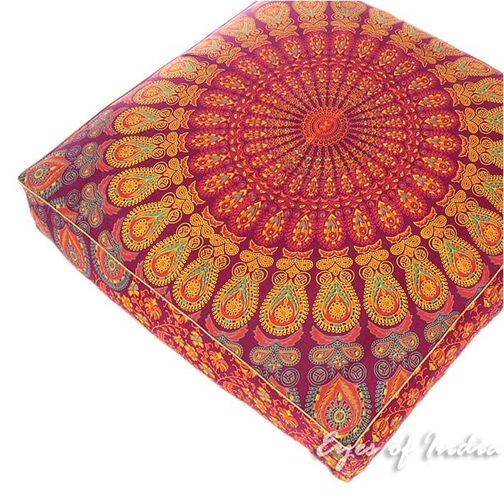 Square Colorful Floor Pillow Cover