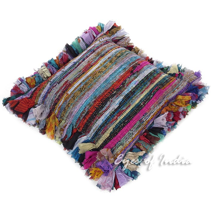 Blue Colorful Chindi Rag Rug Throw Sofa Floor Pillow Meditation Cushion Bohemian Boho Cover - 16""
