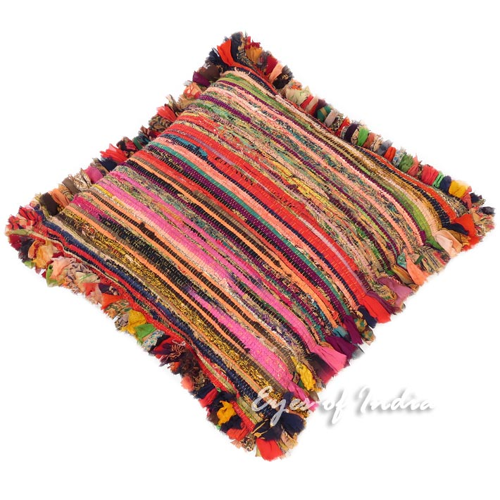 Orange Chindi Rag Rug Couch Meditation Cushion Bohemian Boho Colorful Floor Pillow Throw Cover - 24""