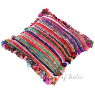 Pink Colorful Chindi Rag Rug Throw Sofa Floor Meditation Pillow Cushion Bohemian Boho Cover - 24""